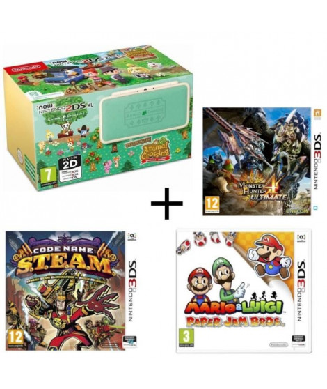New 2DS XL Animal Crossing + Monster Hunter 4 Ultimate + Mario & Luigi Paper Jam +  Code Name : STEAM