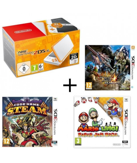 New 2DS XL Blanche et Orange + Monster Hunter 4 Ultimate + Mario & Luigi Paper Jam +  Code Name : STEAM