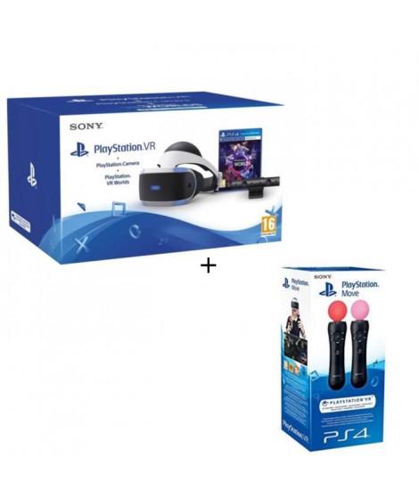 PlayStation VR + PlayStation Caméra + VR Worlds (Voucher) + Paire Manette de détection de mouvements PlayStation Move