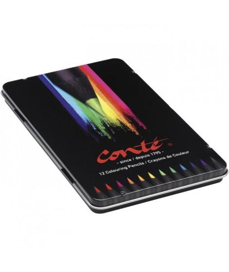 Conté Crayons de Couleur - Couleurs Assorties, Boîte Métallique de 12