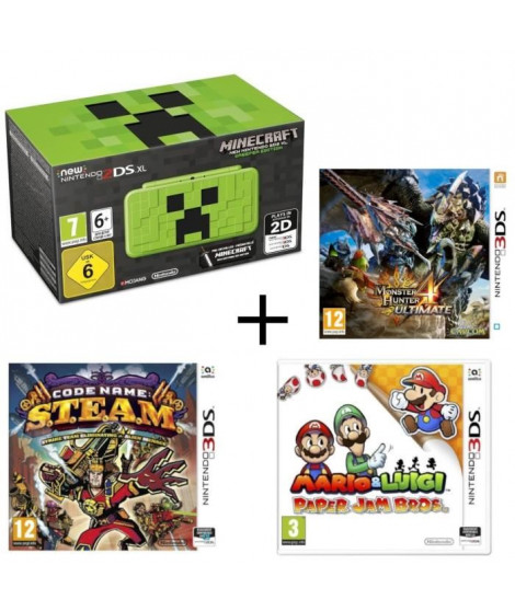 New 2DS XL Minecraft Creeper Edition + Monster Hunter 4 Ultimate + Mario & Luigi Paper Jam +  Code Name : STEAM