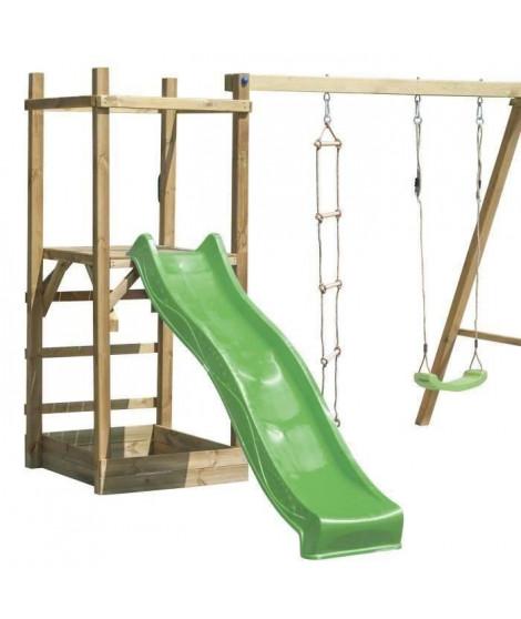 KOOLKIDS - Aire de jeu Portique ALLAN - Structure avec toboggan, balançoire et échelle