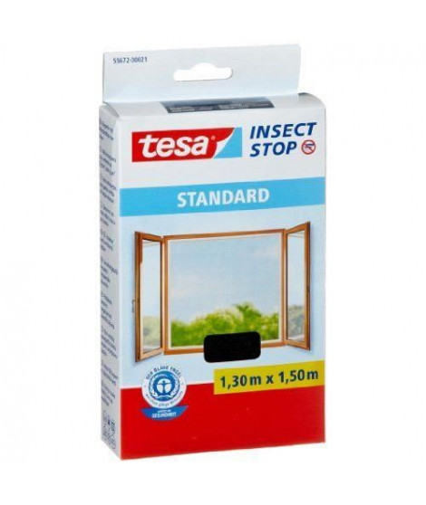 TESA Moustiquaire Standard pour fenetre - 1,3 m x 1,5 mm - Noir