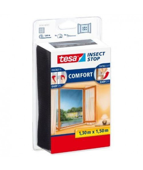 TESA Moustiquaire Comfort pour fenetres - 1,3 m x 1,5 m - Noir