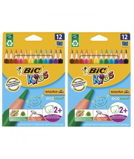 Lot de 2 BIC Kids Evolution Triangle ECOlutions Crayons de Couleurs Triangulaires - Couleurs Assorties, Etui Carton de 12