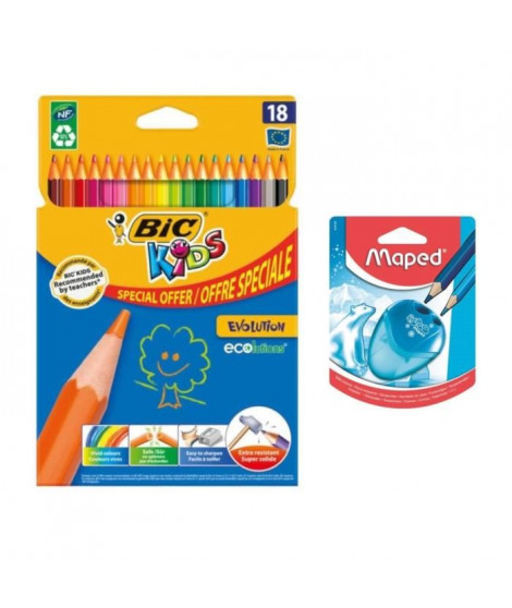 Pack 18 Crayons de Couleurs + Taille Crayon I-Gloo