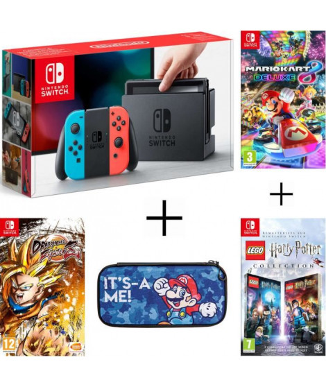 Pack Nintendo Switch Néon + Dragon Ball FighterZ (code in a box) + LEGO HARRY POTTER + housse + Mario Kart 8 Deluxe