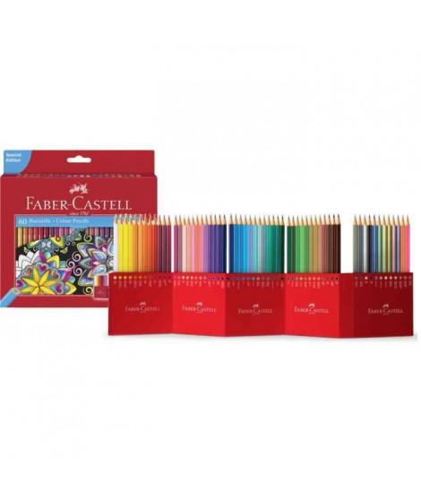 FABER-CASTELL Etui de 60 Crayons de couleur Château accordéon - Coloris assortis