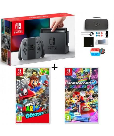 Pack Nintendo Switch Grise + Super Mario Odyssey + Mario Kart 8 Deluxe + Pack d'accessoires Steelplay 11 en 1