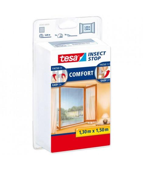 TESA Moustiquaire Comfort pour fenetres - 1,3 m x 1,50 m - Blanc