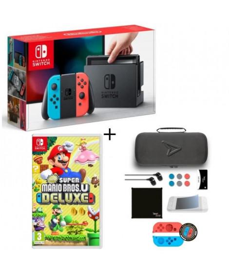 Pack Nintendo Switch Néon + Super Mario Bros U Deluxe + Pack d'accessoires Steelplay 11 en 1