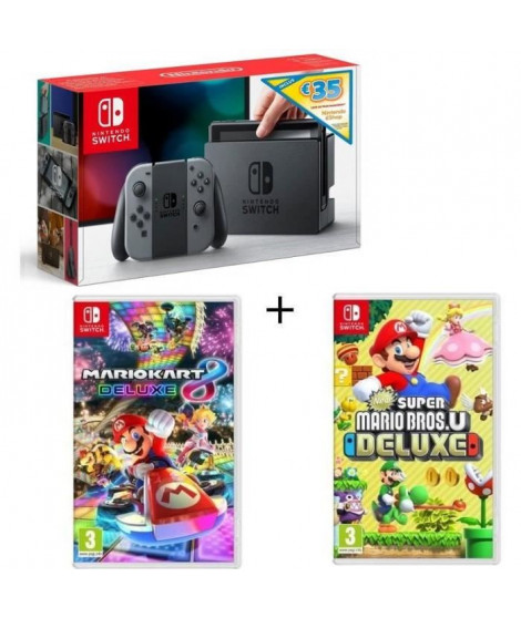 Pack Nintendo Switch Grise Edition Limitée + New Super Mario Bros U Deluxe + Mario Kart 8 Deluxe + code téléchargement 35? Ni…