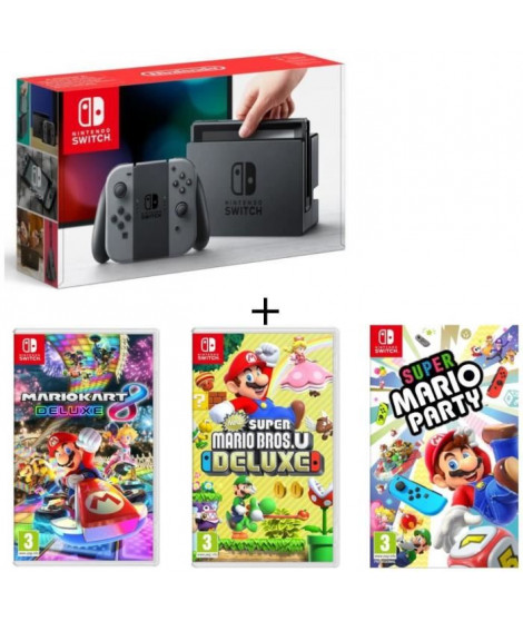 Pack Nintendo Switch Grise + New Super Mario Bros U Deluxe + Super Mario Party + Mario Kart 8 Deluxe