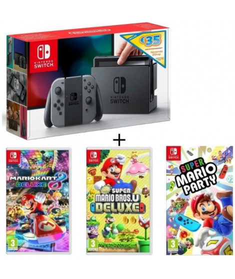 Pack Nintendo Switch Grise Ed.Limitée + New Sup.Mario BrosU Deluxe + Sup.Mario Party + Mario Kart8 Deluxe + code téléch 35? N…