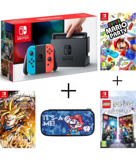 Pack Nintendo Switch Néon + Dragon Ball FighterZ (code in a box) + LEGO HARRY POTTER + housse + Super Mario Party