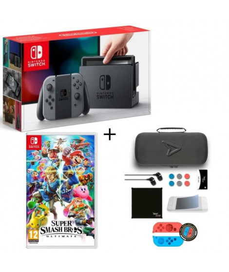 Pack Nintendo Switch Grise + Super Smash Bros Ultimate Edition + Pack d'accessoires Steelplay 11 en 1