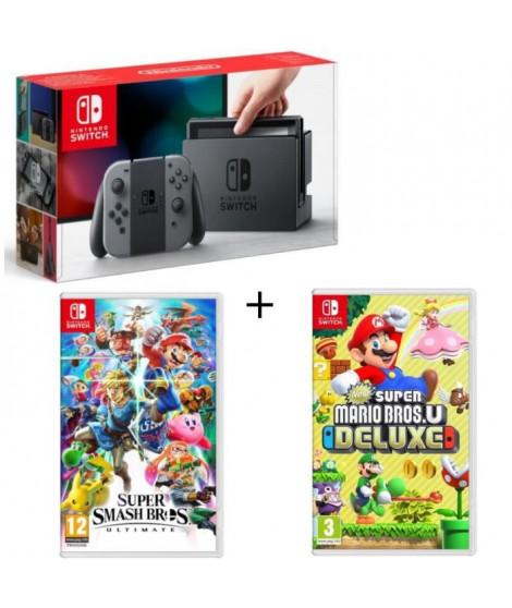Pack Nintendo Switch Grise + New Super Mario Bros U Deluxe + Super Smash Bros Ultimate