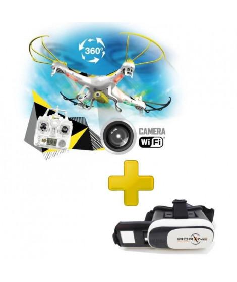 Mondo Motors - PACK Ultra Drone x31.0 avec Caméra et WIFI + Casque de Réalité Virtuelle VrGlasses