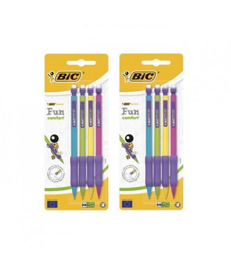 Lot de 2 BIC Matic Fun Comfort Porte-Mines 0,7 mm HB - Couleurs Assorties, Blister de 4