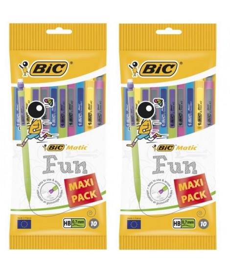 Lot de 2 BIC Matic Fun Porte-Mines 0,7 mm HB - Couleurs Assorties, Pochette de 10