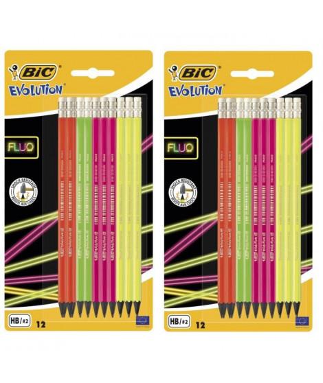 Lot de 2 BIC Evolution Fluo Crayons a Papier avec Gomme Intégrée - HB, Blister de 12