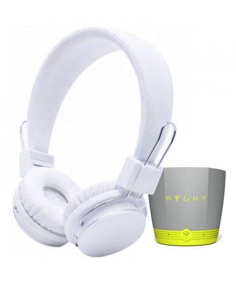 Pack RYGHT LUMINA Casque audio Bluetooth Blanc + EXAGO BT Enceinte Bluetooth - Gris/Vert