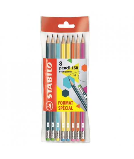 STABILO Ecopack x 8 crayons Graphite Pencil 160 bout gomme HB