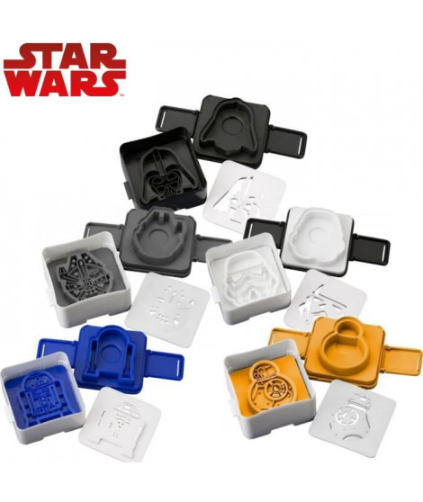 Pack 5 moules a toast Star Wars: BB-8 + Stormtrooper + R2-D2 + Faucon Millenium + Dark Vador