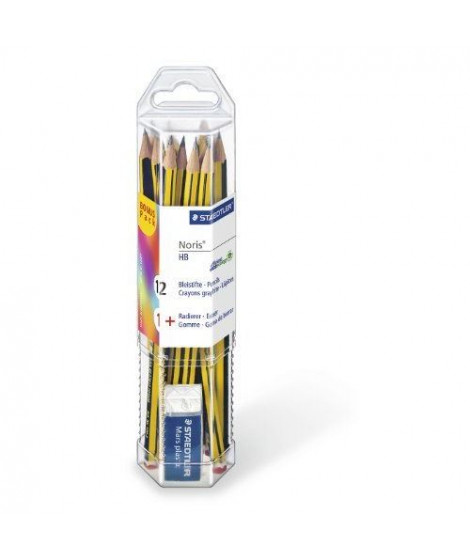 STAEDTLER - Gobelet de 12 crayons graphite HB Noris 120 + gomme