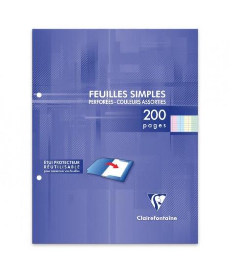 CLAIREFONTAINE - Feuilles simples couleurs - 4 couleurs - Perforées - 17 x 22 - 200 pages Seyes - Papier P.E.F.C 90G