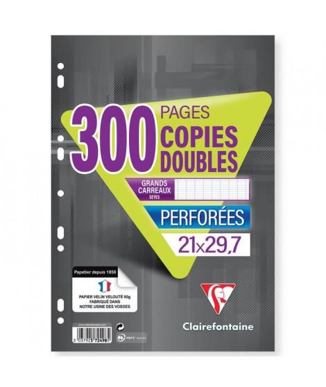 CLAIREFONTAINE - Copies doubles blanches - Perforées - 21 x 29,7 - 300 pages Seyes - Papier P.E.F.C 90G