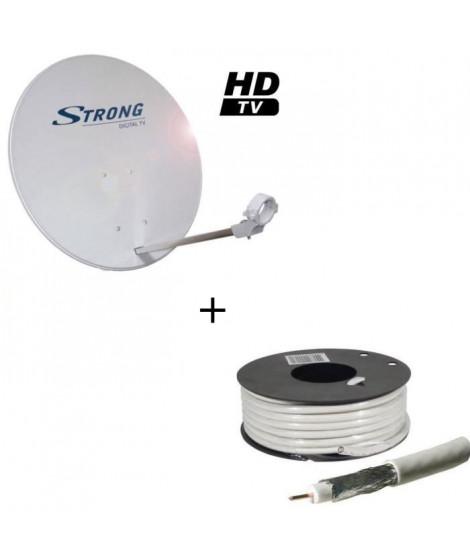 Pack STRONG SRTD63SPL702 Parabole avec tete LNB + LINEAIRE CCX17B-25 Câble antenne type 17 VATC 25m00