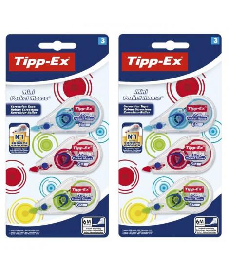 Lot de 2 Tipp-Ex Mini Pocket Mouse Rubans Correcteurs 6 m x 5 m - Couleurs Fantaisie Assorties, Blister de 3