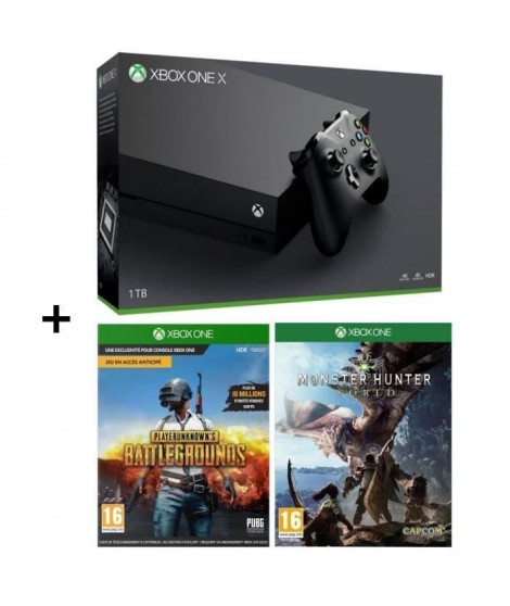 Xbox One X 1 To + Monster Hunter World + PUBG