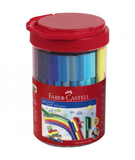 FABER-CASTELL Tube de 50 feutres Connector - Coloris assortis