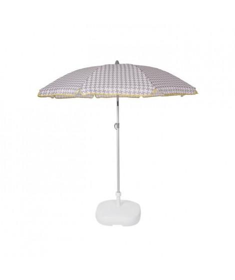 EZPELETA Parasol de plage Beach - Ø 180 cm - Vichy gris Socle non inclus