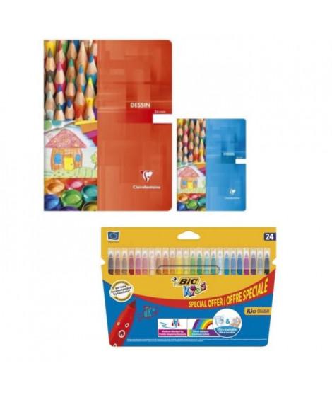 Pack 24 Feutres + Cahier de Dessin 24 x 32 cm