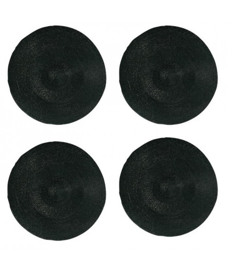 Lot de 4 sets de table rond Rommy - 100% polypropylene - 35 x 35 cm - Noir