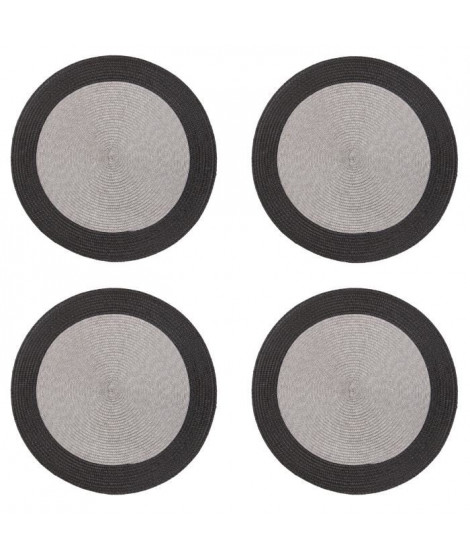 Lot de 4 sets de table rond Rommy - 100% polypropylene - 35 x 35 cm - Gris et ivoire