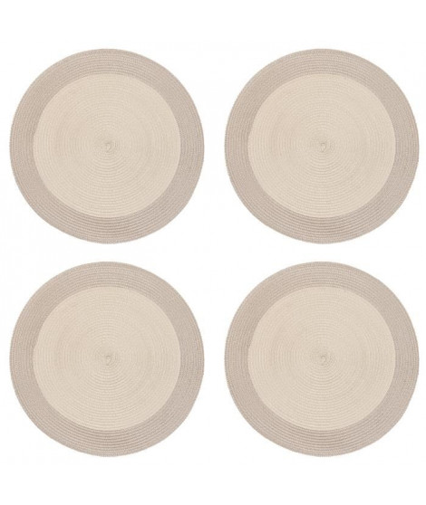 Lot de 4 sets de table rond Rommy - 100% polypropylene - 35 x 35 cm - Beige et taupe