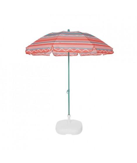EZPELETA Parasol de plage Fold - Ø 180 cm - Rayé orange Socle non inclus