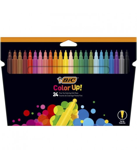 BIC Color Up Feutres de Coloriage a Pointe Fine - Couleurs Assorties, Etui Carton de 24