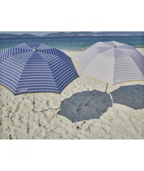 EZPELETA Parasol de plage spécial moto ou vélo - Ø 170 cm - Rayé bleu Socle non inclus