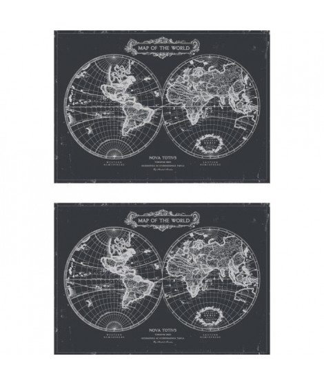 Lot de 2 sets de table Rockfeller - 100% Vinyle - 35 x 49,5 cm - Motif Map of the World - Finition Antique