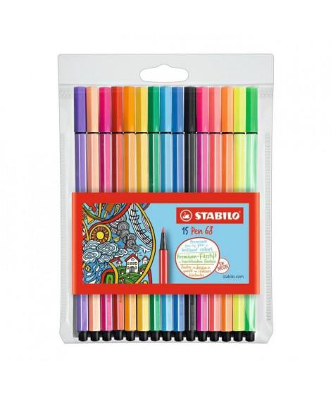 STABILO Pen 68 - Pochette de15 feutres de coloriage  - coloris assortis dont 5 fluo