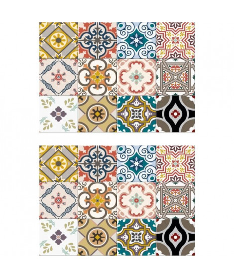 Lot de 2 sets de table Ceramic - 100% Vinyle - 35 x 49,5 cm - Motif Carreaux de Ciment Multicolore - Finition Antique