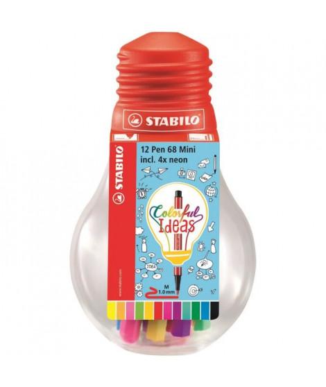 STABILO Ampoule de 12 feutres Colorful ideas 68 Mini - Encre a base d'eau - Coloris éclatant