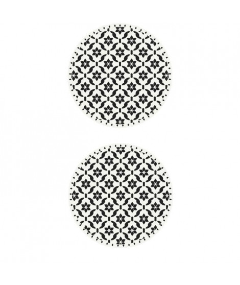 Lot de 2 sets de table Ceramic - 100% Vinyle - Ø38 cm - Motif Carreaux de Ciment Blanc et Noir