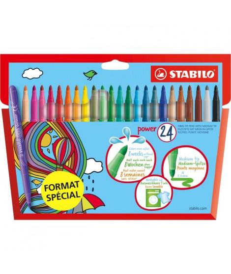 STABILO Etui carton de 24 feutres de coloriage Format spécial - Coloris éclatant