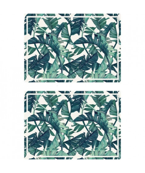 Lot de 2 sets de table Exotic - 100% Vinyle - 35 x 49,5 cm - Motif Jungle 2 - Vert et Blanc